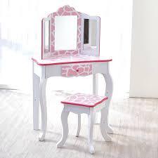 kidkraft princess table stool vanity table stool kids fashion prints vanity stool set with mirror