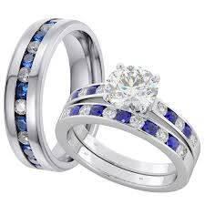 sapphire wedding rings images His and hers matching blue sapphire wedding couple rings set jpg