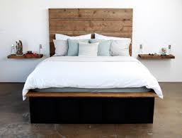 Bed With Headboard And Drawers Bedroom Reclaimed Wood Bed With Tall Headboard And Storage Also