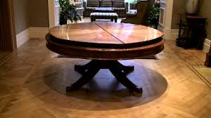 expanding round dining table 59 to 74 inch round solid walnut