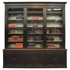 Antique Oak Bookcase With Glass Doors Large Black Painted 1900s Shop Oak Bookcase Cabinet