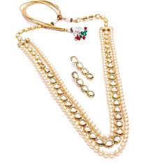 Buy Alankruthi Pearl Necklace Set Buy Kundan And Pearls 3 Line Long Layered Necklace Set With Long