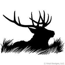 elk head silhouette hunting antlers vinyl wall decal sticker art