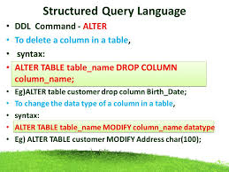 Alter Table Drop Column Structured Query Language Ppt Download