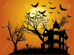 holloween background halloween background with haunted house bats and pumpkin royalty