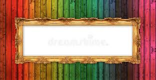golden frame colorful wooden wall stock illustration