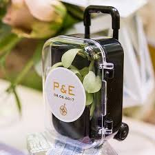 popular wedding favors miniature travel trolley with wheels and retractable handle pack of 1