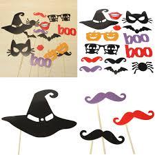 14pcs diy halloween pumpkin lips photo booth props mask mustache