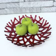 red glass fruit bowl ruby red melted glass platter