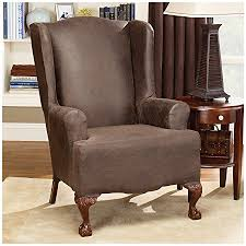 wing chair slipcover sure fit stretch leather wing chair slipcover brown sf37324
