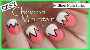 easy chevron mountains nail art for short nails 2 youtube