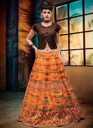 buy party wear orange silk jute printed lehenga choli in uk usa