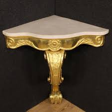 Italian Console Table Italian Console Table In Gilt Wood With Marble Top 1950s For Sale