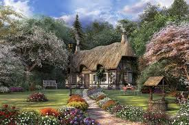 kinkade painting of cottage pictures