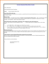 letter of resignation without notice resignation letter format