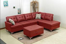 bonded leather sectional w storage ottoman bella furniture and