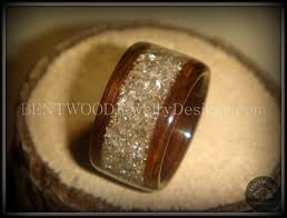 glass wedding rings bentwood ring rosewood wood ring silver glass inlay durable