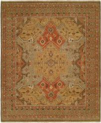 Light Colored Tapestry Gold Light Blue Rusty Red Field With Clay Colored Border Area Rug