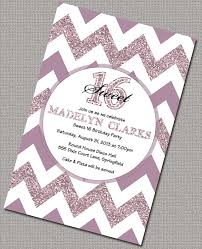 sparkly chevron 16th birthday invitations diy sweet sixteen