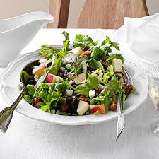 thanksgiving green salad recipes mixed green salad with cranberry vinaigrette recipe taste of home