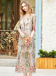 sweet embroidered mesh slim maxi dress ezpopsy