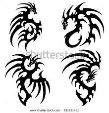 vector illustration dragon tattoo design black stock vector