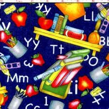 themed material cotton quilt fabric random thoughts school teachers fabric bright