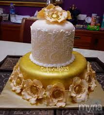 Gold Cream And Beige Hand Painted Wedding Cake Myria