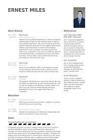 Sample Resume For Machine Operator by Machinist Resume Samples Visualcv Resume Samples Database