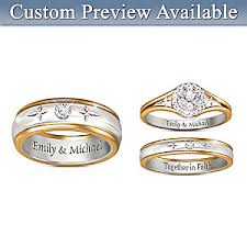 images of wedding rings forever in faith his hers personalized set of diamond wedding rings