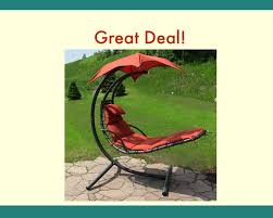 Patio Swing Chair With Stand by Sunnydaze Floating Chaise Lounger Swing Chair With Canopy 55 Inch