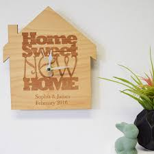 personalised u0027home sweet new home u0027 wooden clock by hickory dickory