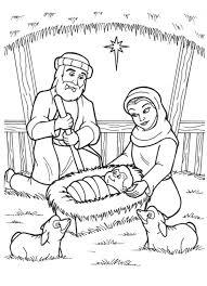 coloring jesus manger coloring