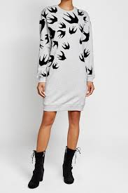 mcq alexander mcqueen printed cotton sweat dress color grey