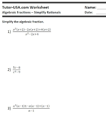 worksheet algebraic equations simplify rational expressions