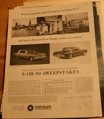 Magazine Sweepstakes Chrysler Vintage Magazine Ads