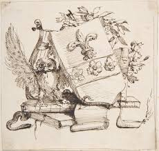 file drawing of a decorated coat of arms surrounded by books owl