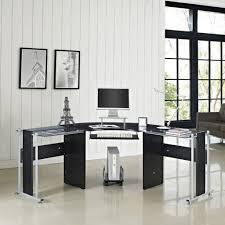 L Shaped Glass Desks Office Desk Glass Desk With Shelves Contemporary Desk L Shaped