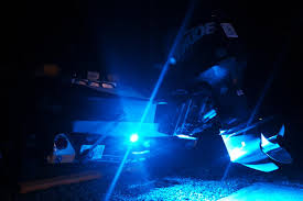 set of blue underwater led boat lights installed on professional