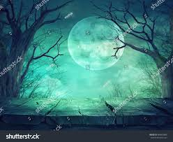 green halloween background halloween background spooky forest full moon stock photo 484893886