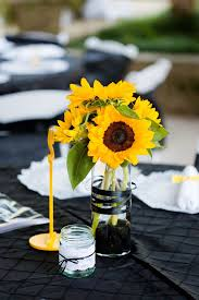 sunflower centerpiece sunflower centerpiece with black ribbon
