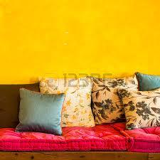 retro livingroom retro living room interior with leather sofa and wooden sofa stock