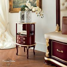 traditional side table solid wood with magazine rack golden