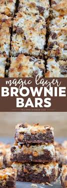 magic layer brownie bars have a rich brownie base chocolate erscotch chips coconut