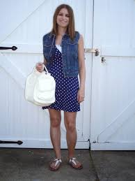 the tiny heart denim vest and polka dot dress