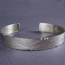 mens silver bangle bracelet images Engraved silver bracelet for men unique wood texture cuff two jpg