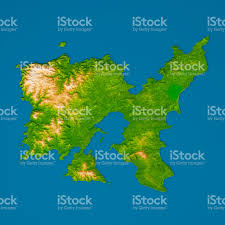 Aegean Sea Map Limnos Island 3d Model Topographic Map Relief Color Top View Stock