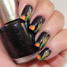 halloween nail art cornstalks and pumpkins set in lacquer