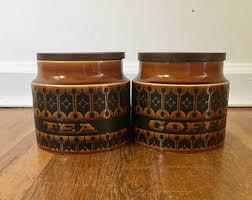 pottery kitchen canister sets vintage pottery canister set etsy