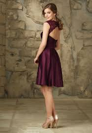 purple dresses for weddings knee length burgundy a line satin lace wedding dress with cap sleeves